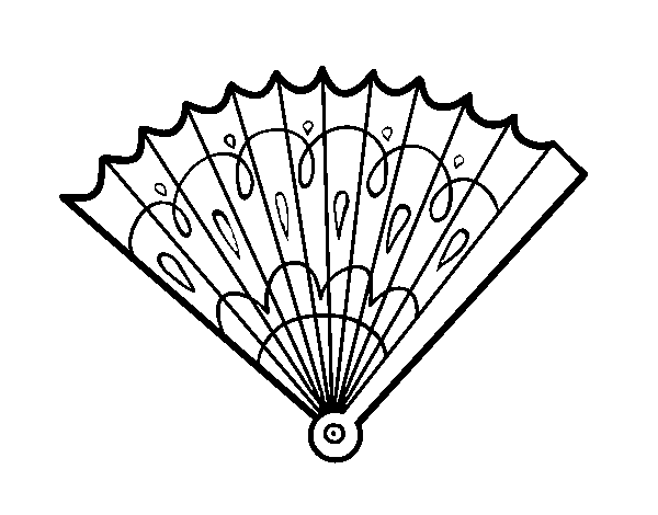 Dibujo de Abanico estampado para Colorear - Dibujos.net