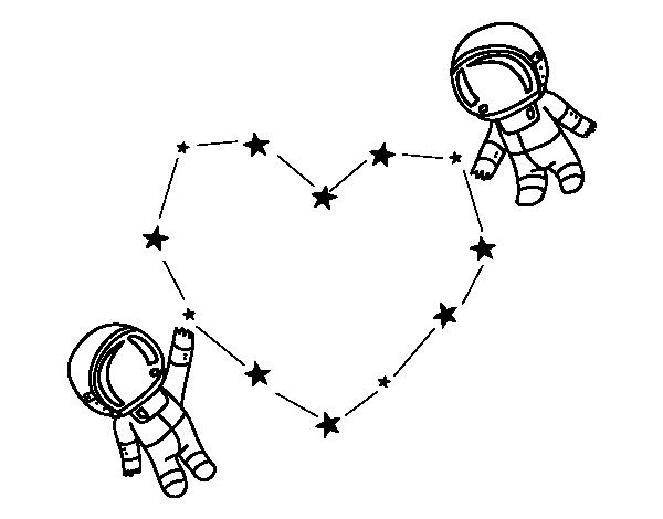 Dibujo de Amor en el espacio para Colorear - Dibujos.net