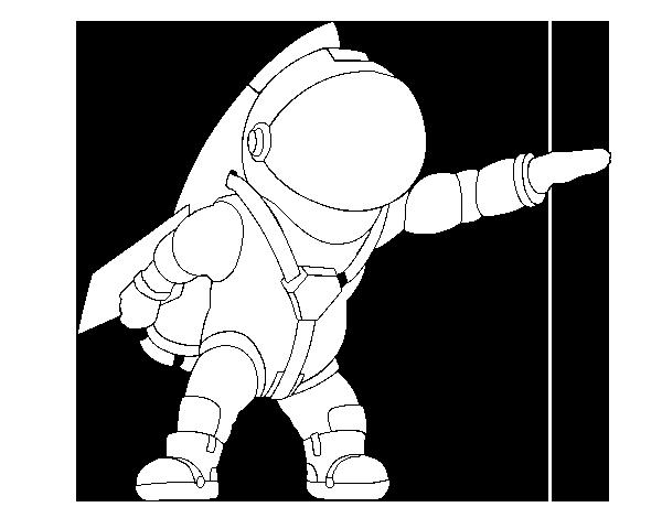 Cohete De Astronauta Y Vintage De Dibujos Animados: Dibujo De Astronauta Con Cohete Para Colorear