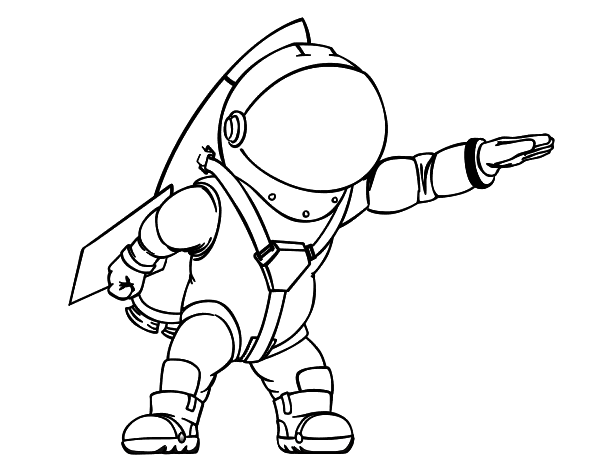 Dibujo de Astronauta con cohete para Colorear - Dibujos.net