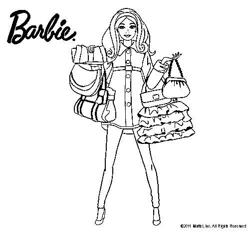 Dibujo de Barbie de compras para Colorear - Dibujos.net