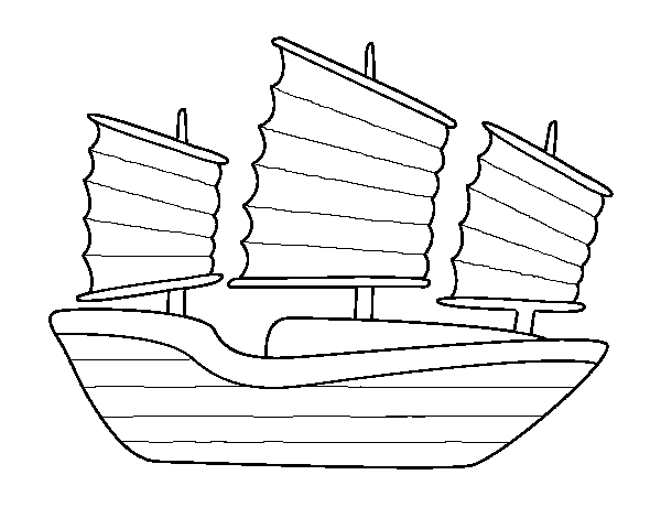 Dibujo de Barco oriental para Colorear - Dibujos.net