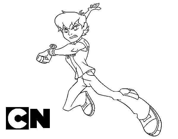 Dibujo De Ben 10 En Acción Para Colorear Dibujosnet