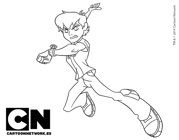 Dibujo de Ben 10 en acción para Colorear - Dibujos.net