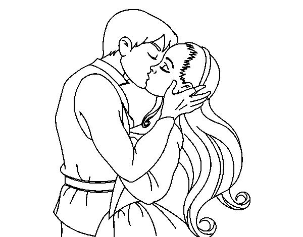 Dibujo de Beso de amor para Colorear - Dibujos.net