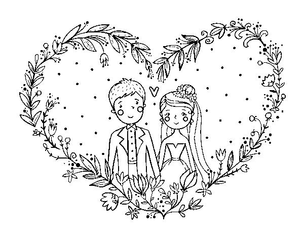 Dibujo De Boda Corazón Para Colorear Dibujosnet
