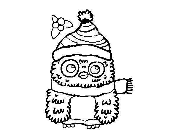 Dibujo de Búho de Navidad para Colorear - Dibujos.net