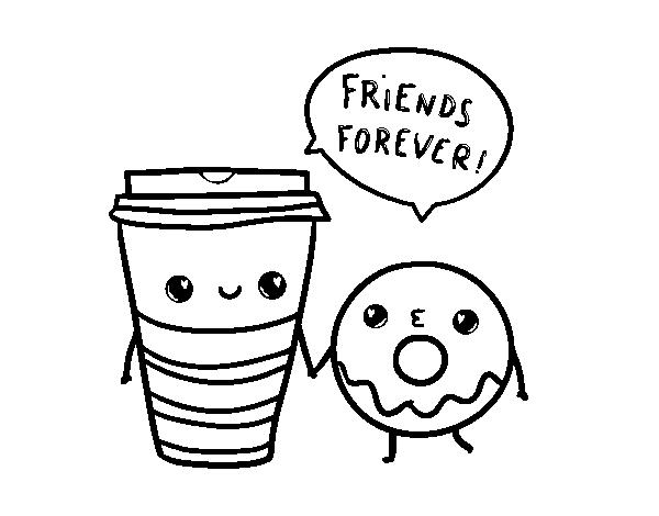 Dibujo De Café Y Donut Para Colorear Dibujosnet