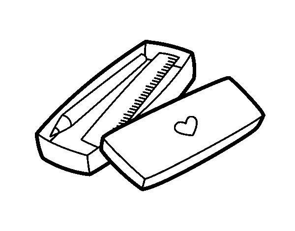 Dibujo de Cajita con lápiz y regla para Colorear - Dibujos.net