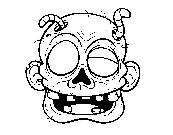 Dibujo de Cara de zombie con gusanos para Colorear - Dibujos.net