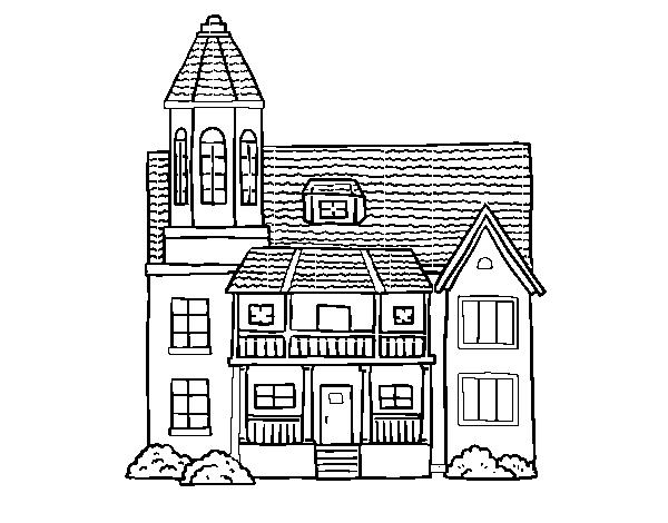Dibujo De Casa De Dos Pisos Con Torre Para Colorear Dibujosnet