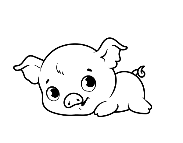 Dibujo de Cerdito bebé para Colorear - Dibujos.net