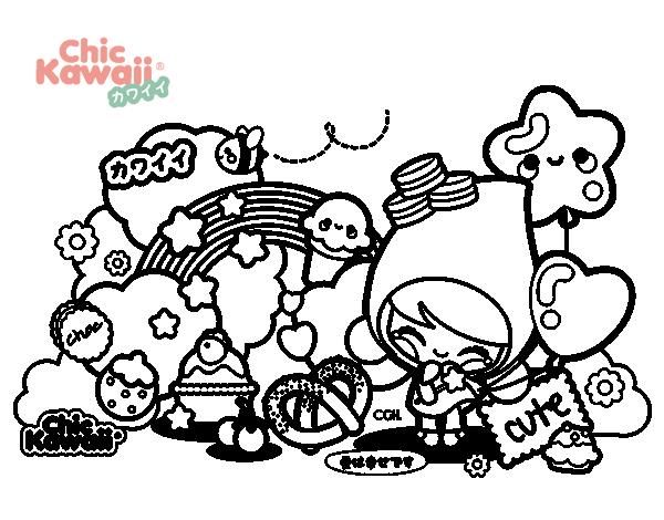 Dibujo De Collage Kawaii Para Colorear Dibujos Net
