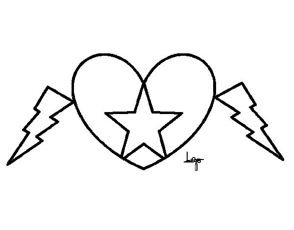 Dibujo de Corazón estrella para Colorear - Dibujos.net