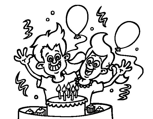 Dibujo de Cumpleaños de hermanos para Colorear - Dibujos.net