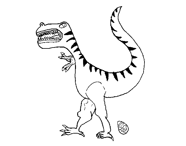 Dibujo de Dinosaurio con huevo para Colorear - Dibujos.net