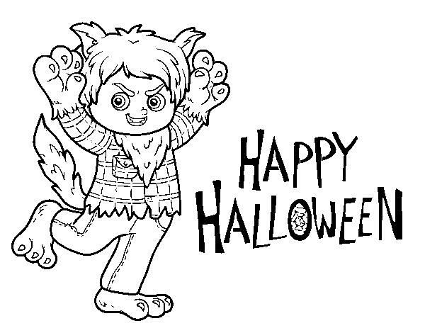 Dibujo de Disfraz de lobo de Halloween para Colorear - Dibujos.net
