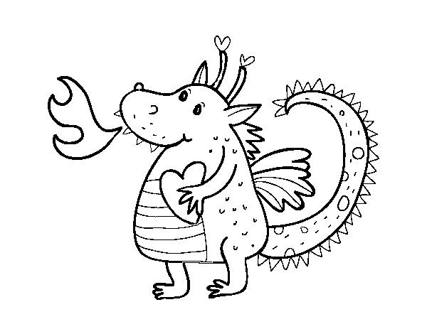 Colorear Dragones Para Para Chino Dibujos Para Colorear De: Dibujo De Dragón Infantil Para Colorear