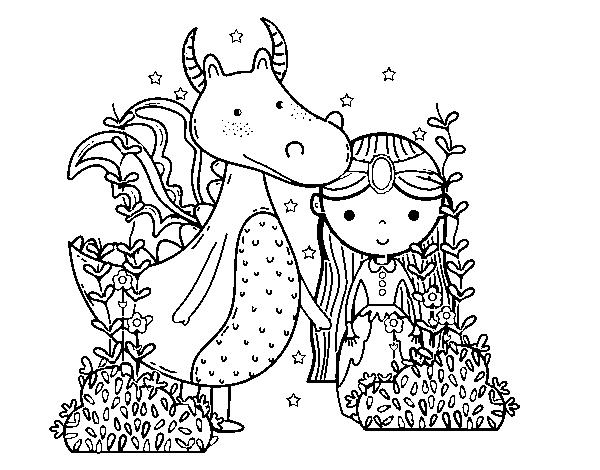 Colorear Dragones Para Dragones Para Colorear: Dibujo De Dragón Y Princesa Para Colorear