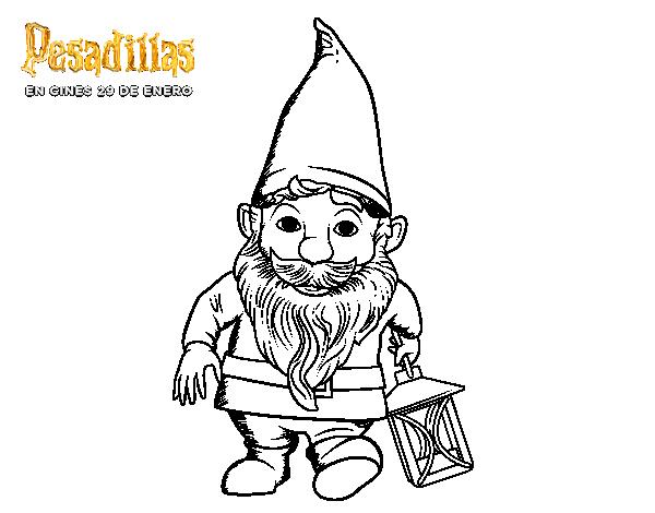 Dibujo de El gnomo de jardín con lámpara para Colorear - Dibujos.net