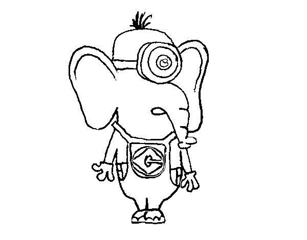 Dibujo de Elefante Minion para Colorear - Dibujos.net