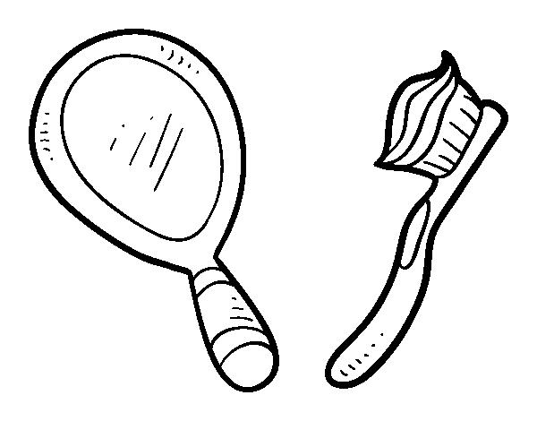 Dibujo Dientes Para Colorear E Imprimir: Dibujo De Espejo Y Cepillo De Dientes Para Colorear