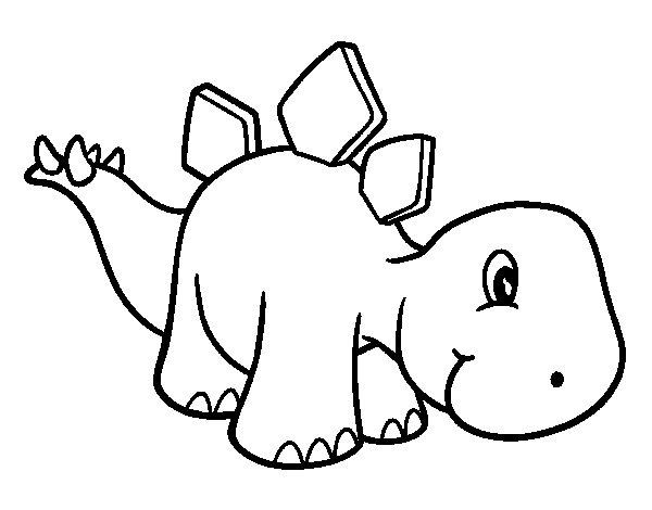 58 Dinosaurios Para Colorear Y Pintar Descargar E: Dibujo De Estegosaurio Bebé Para Colorear