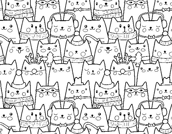 Dibujos Para Colorear On Line De Navidad: Dibujo De Gatitos Navidad Para Colorear