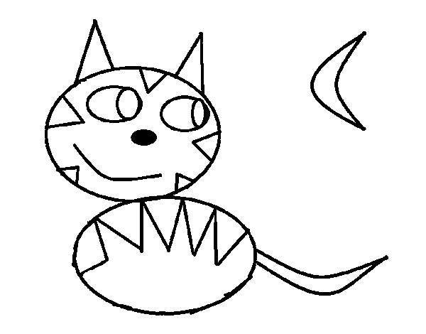 Dibujo de Gato de noche para Colorear - Dibujos.net