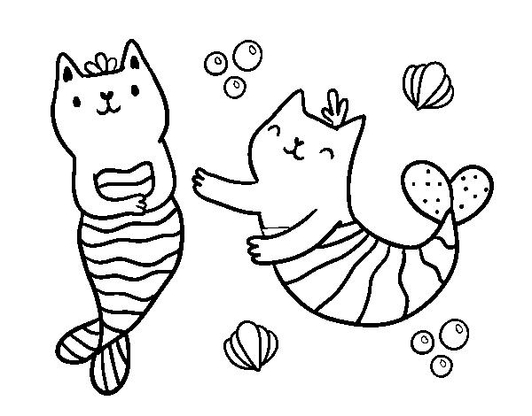 Dibujo de Gatos sirena para Colorear - Dibujos.net