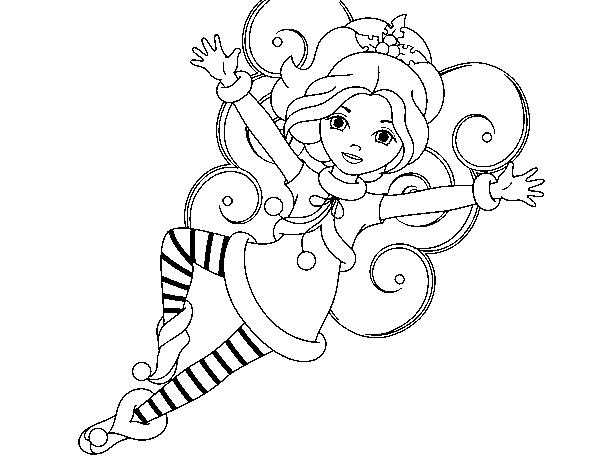 Dibujo de Hada duende de Navidad para Colorear - Dibujos.net