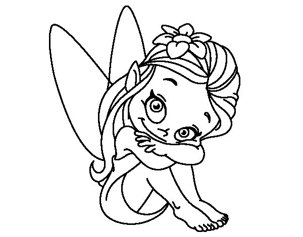 Dibujo de Hada sentada para Colorear - Dibujos.net
