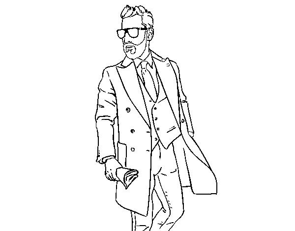 hombre con traje para colorear