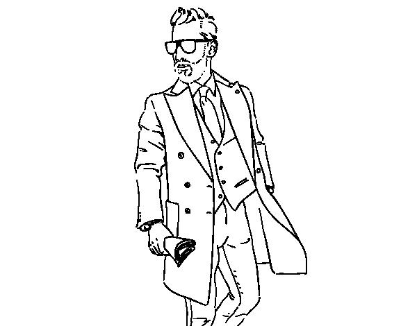Dibujo de Hombre con traje para Colorear - Dibujos.net
