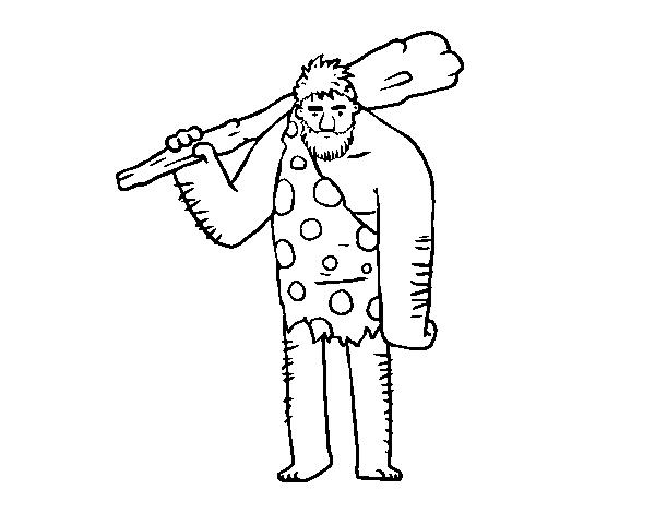Dibujo de Hombre de las cavernas para Colorear - Dibujos.net