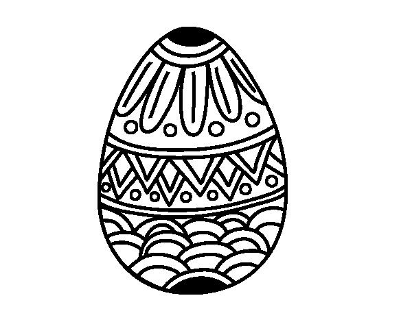 Dibujo de Huevo de Pascua con decorado estampado para Colorear ...