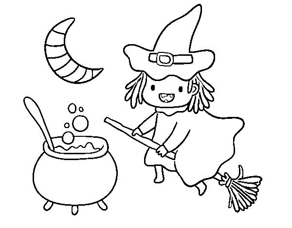 Dibujo de La bruja voladora y su pócima para Colorear   Dibujos.net