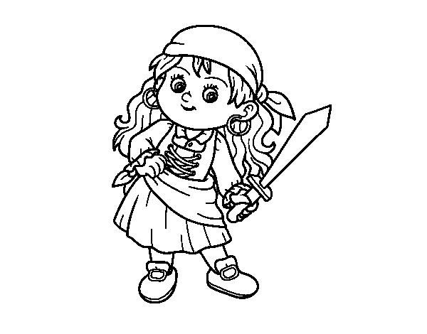 Dibujo de La chica pirata para Colorear - Dibujos.net