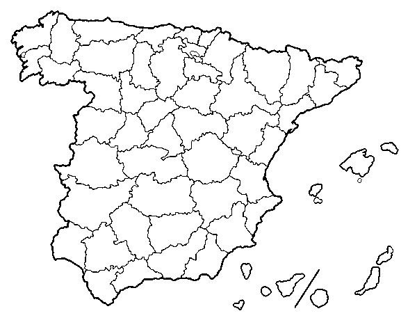 Provincias De España Mapa En Blanco.Dibujo De Las Provincias De Espana Para Colorear Dibujos Net