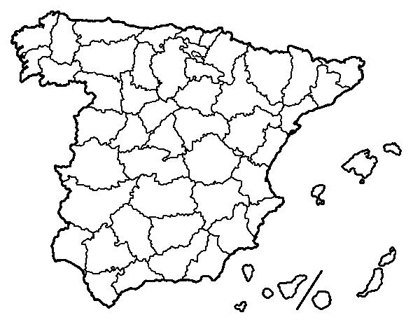 Mapa De España Colorear.Dibujo De Las Provincias De Espana Para Colorear Dibujos Net