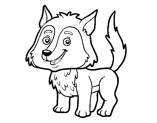 Dibujo de Lobo joven para Colorear   Dibujos.net