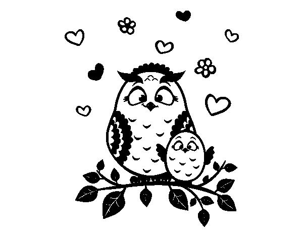 Dibujo de Mamá búho para Colorear - Dibujos.net