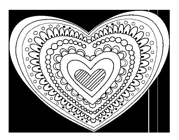 Imagenes Mandala Para Colorear 83: Dibujo De Mandala Corazón Para Colorear