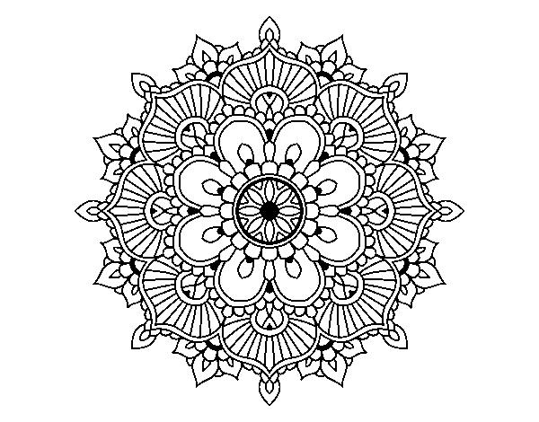 Mandalas De Dragones Para Colorear Descargar Imprimir Y: Dibujo De Mandala Destello Floral Para Colorear