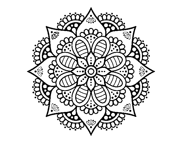 Dibujo de Mandala flor de primavera para Colorear - Dibujos.net