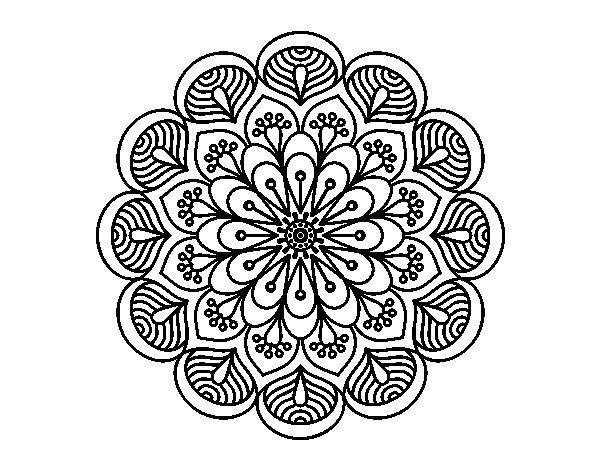 Dibujo De Mandala Flor Y Hojas Para Colorear