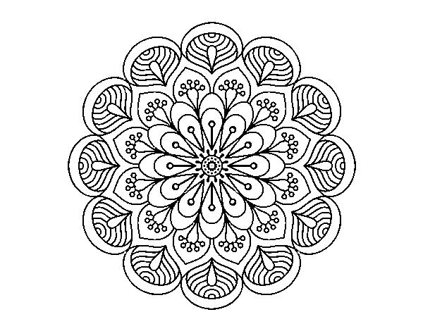 Dibujo de Mandala flor y hojas para Colorear - Dibujos.net