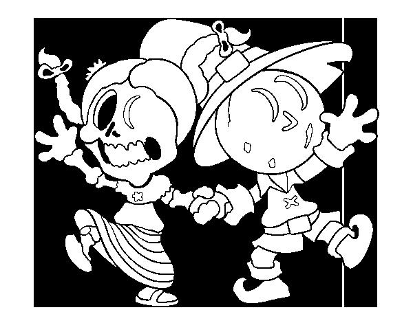 Dibujo de Miércoles y Jack-o-lantern para Colorear - Dibujos.net