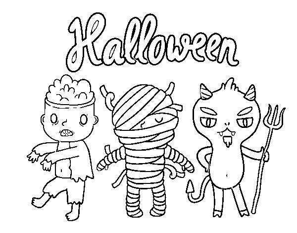 Dibujos Para Colorear De Calabazas De Halloween Para Imprimir: Dibujo De Monstruitos De Halloween Para Colorear