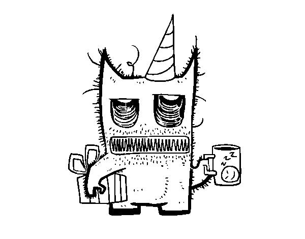 Dibujo de Monstruo con regalos de cumpleaños para Colorear - Dibujos.net